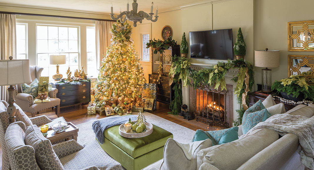 Christmas tree and greenery in living room
