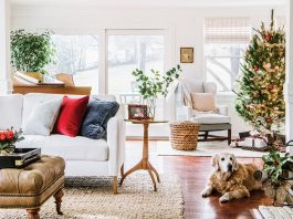 Farmhouse den with Christmas decor