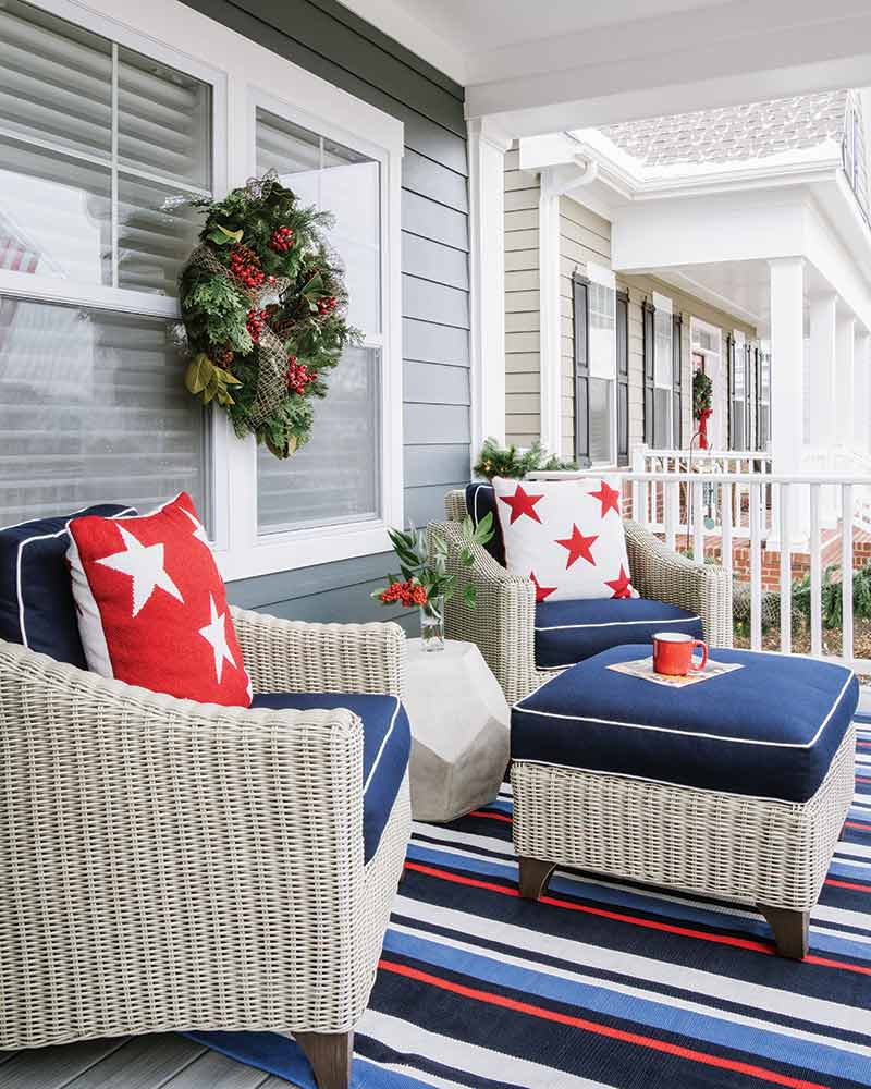 red and blue front porch