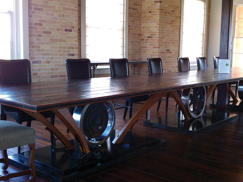 hand-made wooden table
