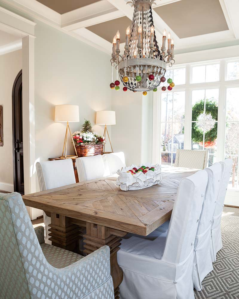 dining room decorated with Christmas ornaments