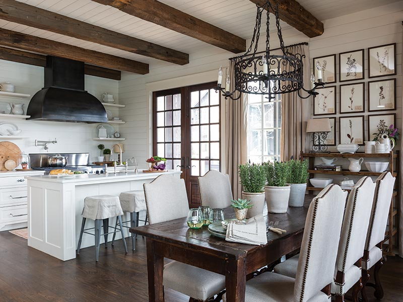kitchen and dining room - wooden beams