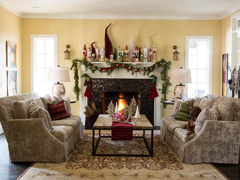 living room with Christmas decor