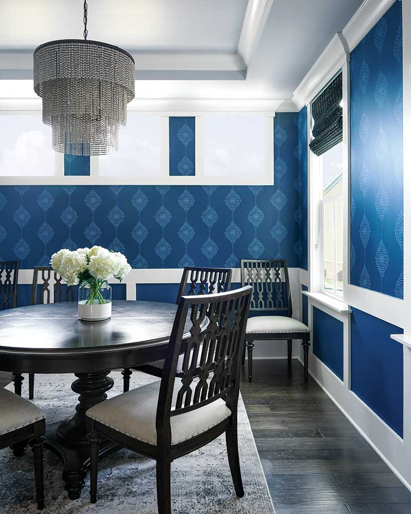 dining room with royal blue walls