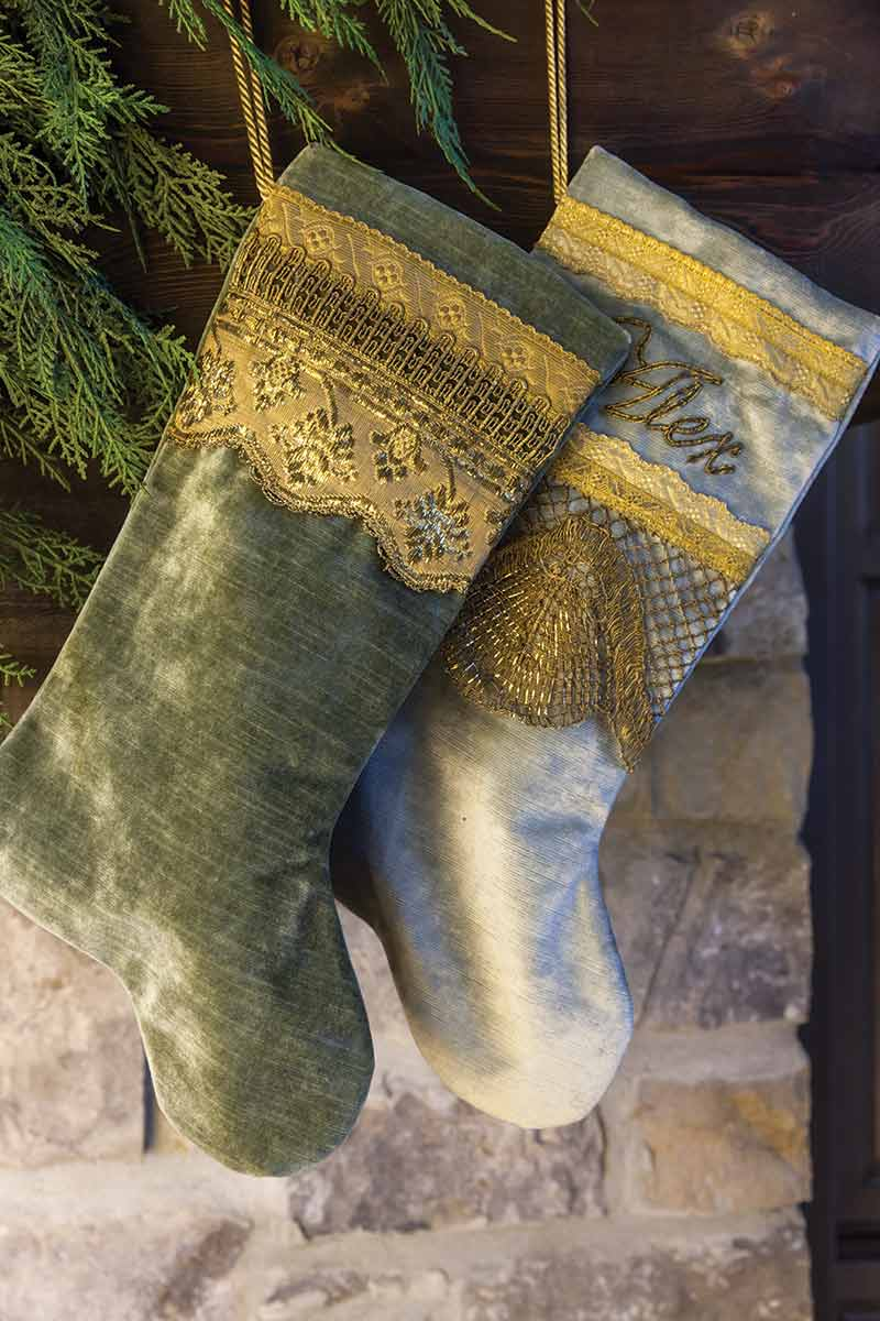 green and silver stockings with gold trim