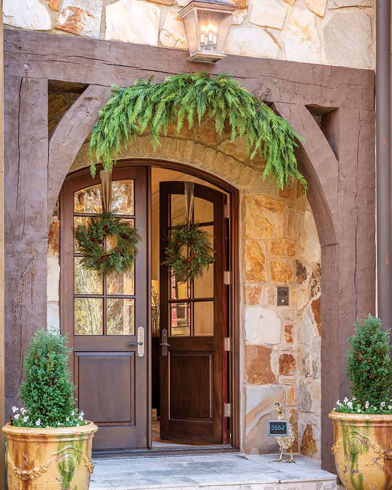 contemporary French-style Christmas front door