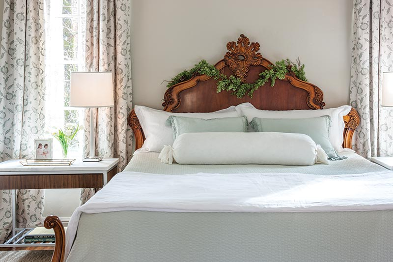 contemporary French-style bed with garland