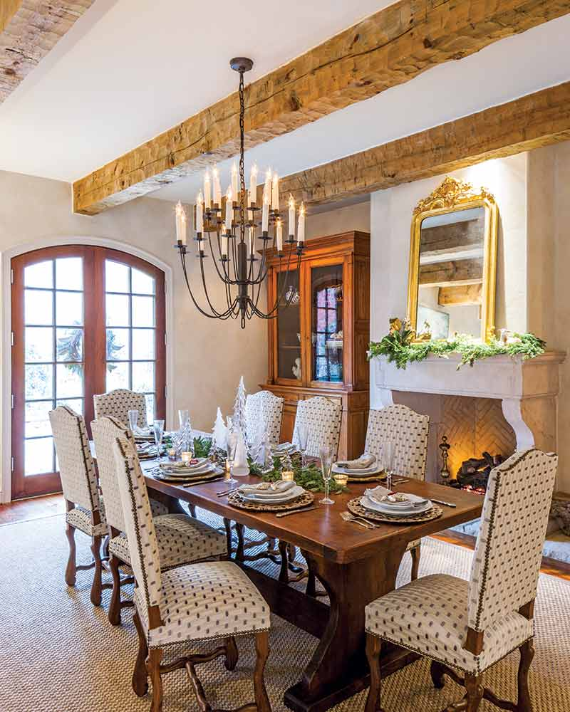contemporary French-style Christmas dining room