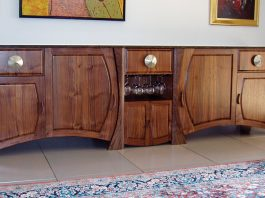 One of a kind hand-made wooden console with wine rack