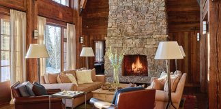 real stone fireplace