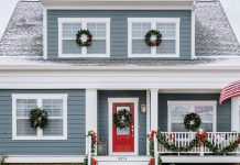 exterior with red front door