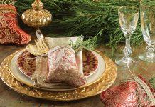 mini red stocking on place setting