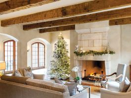 contemporary French-style Christmas den