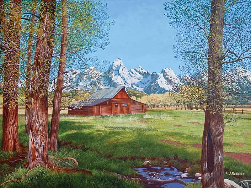 painting of Mormon Barn Grand Tetons, WY