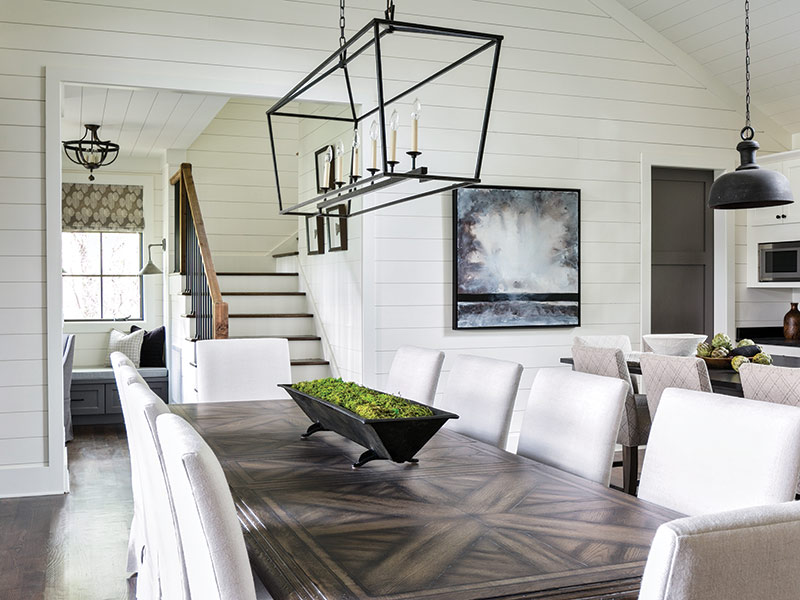 dining room with white shiplap
