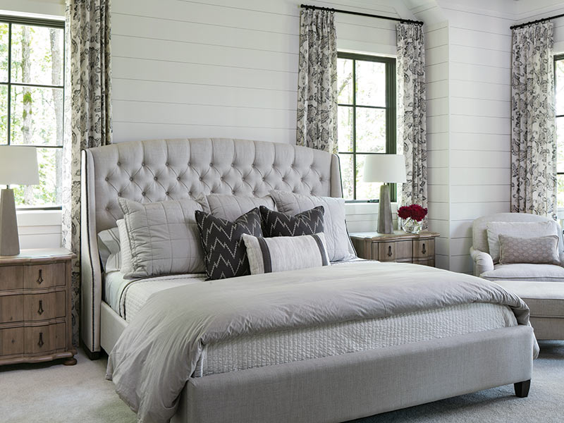 gray bedroom and white shiplap