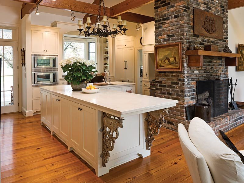 Country kitchen with large white island