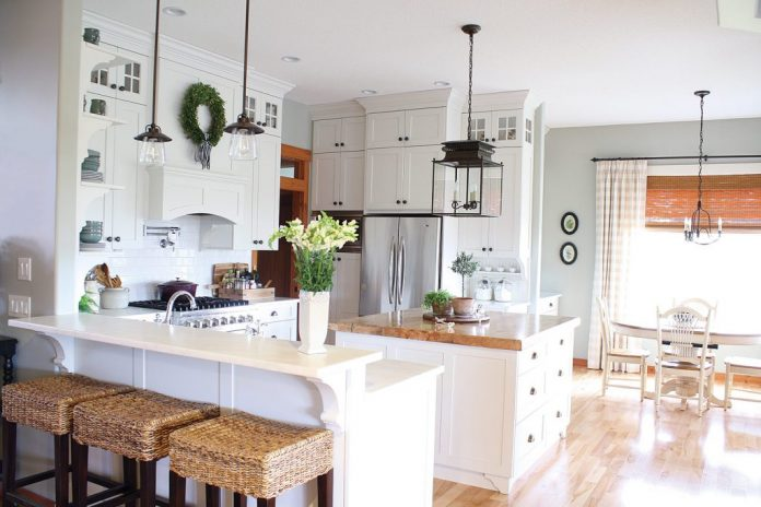 Canadian cottage all-white kitchen