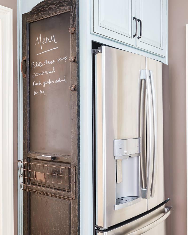 "refrigerator and ""menu"" chalk board"