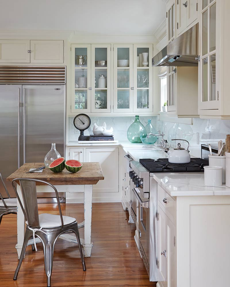 weathered table, farmhouse sink in white kitchen