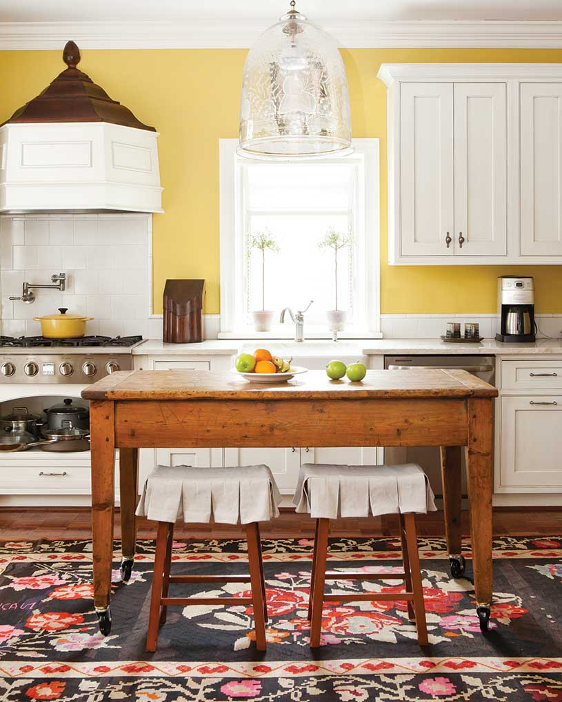kitchen with yellow walls and wooden island