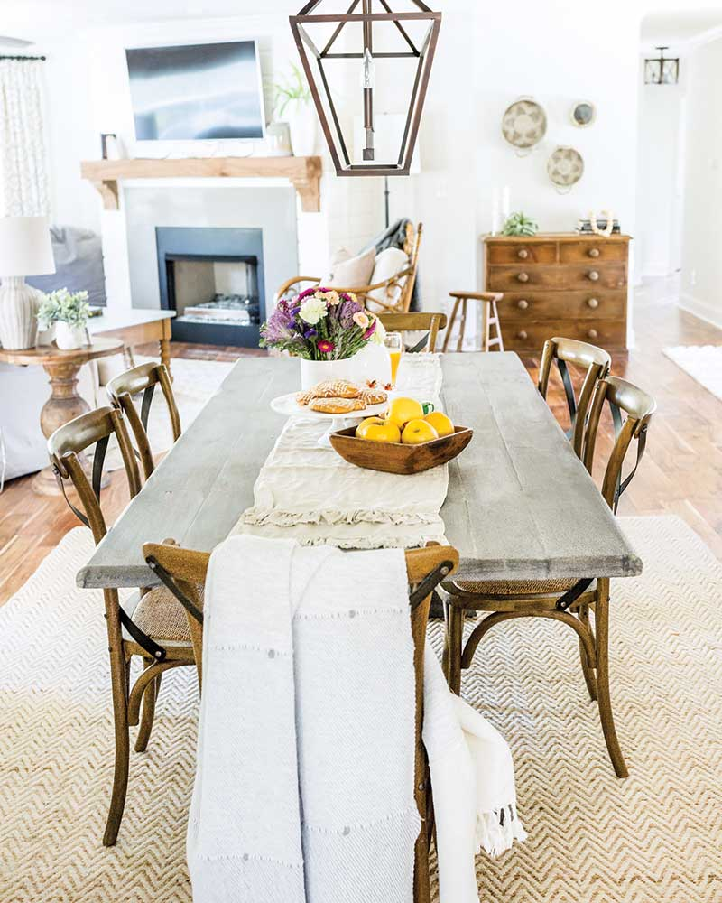 Simple dining table with linen runner