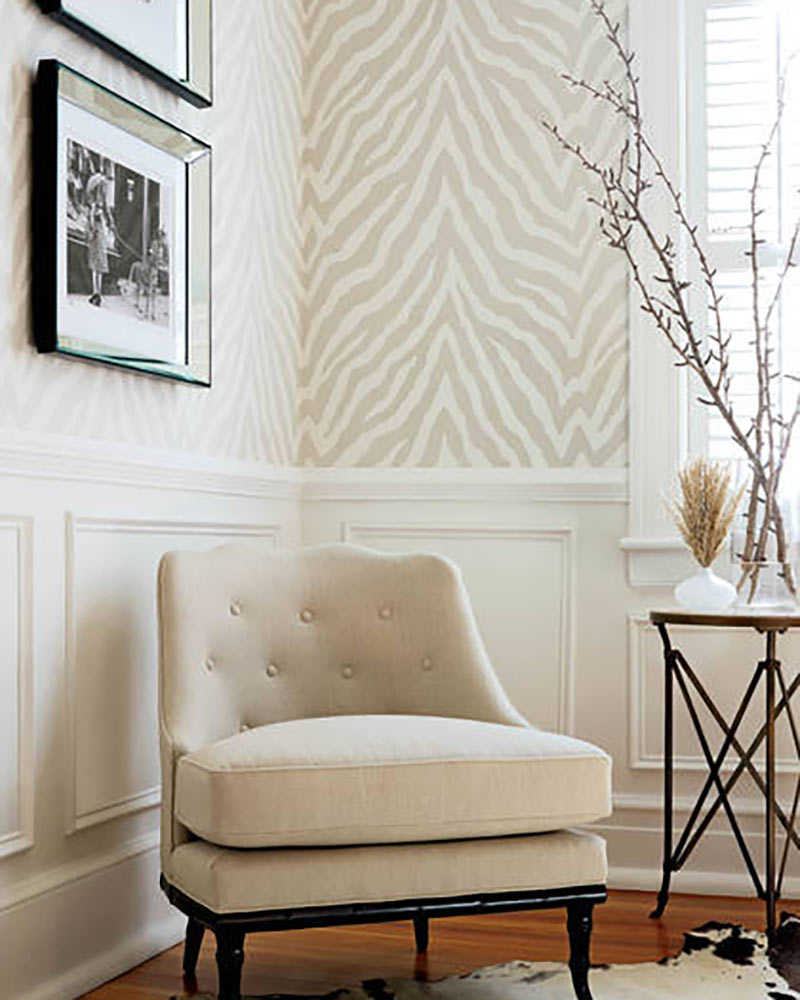 neutral zebra print wallpaper