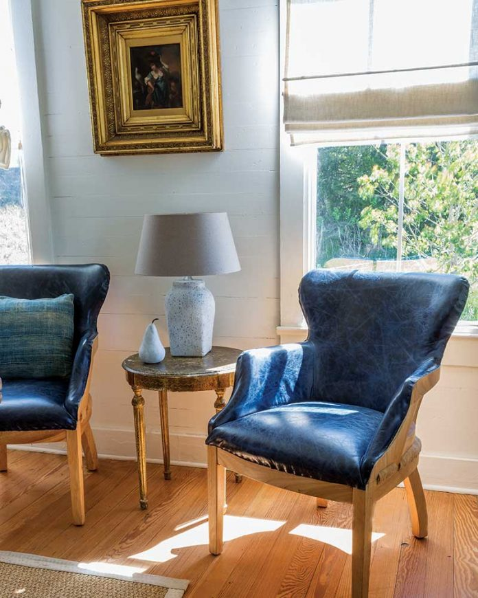 Navy leather chairs