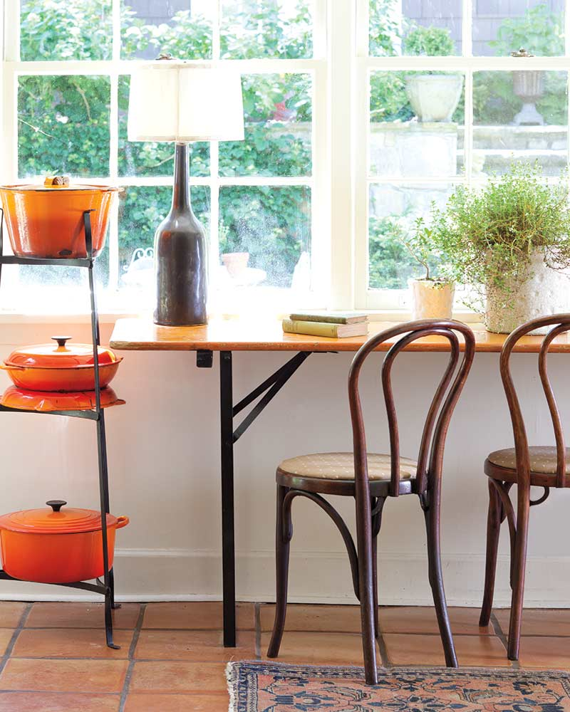 vivid orange cookware display