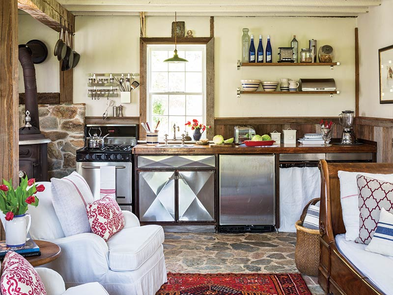 country kitchen with stone flooring