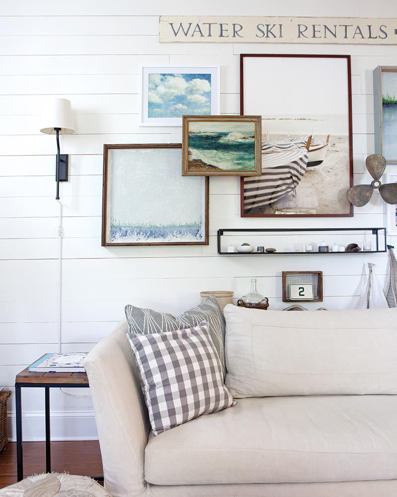 white shiplap in lakeside cottage