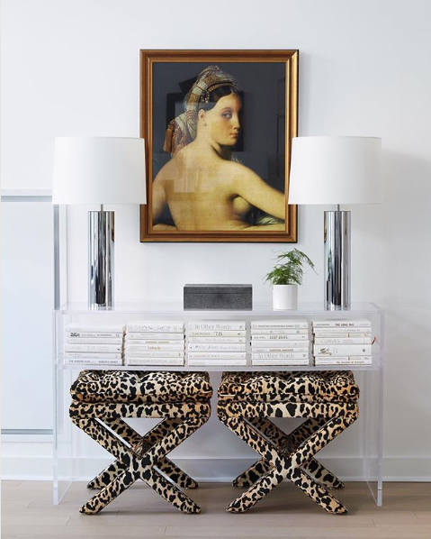 matching leopard print stools from One Kings Lane