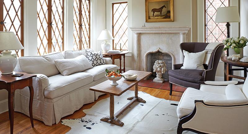Tudor windows in living room