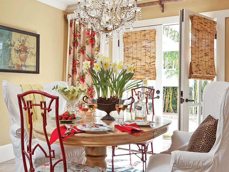 vintage red chairs in Hawaiian-style vintage dining room