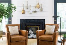fireplace and shiplap