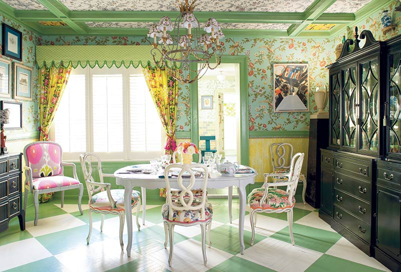 green and white checkered floor