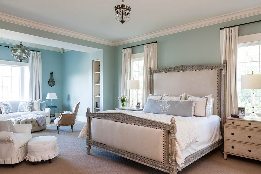 French-style light blue and white bedroom