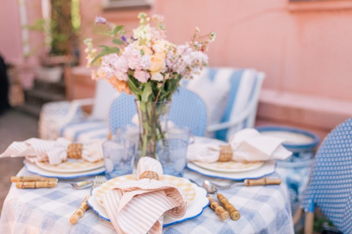 pastel-colored outdoor table setting