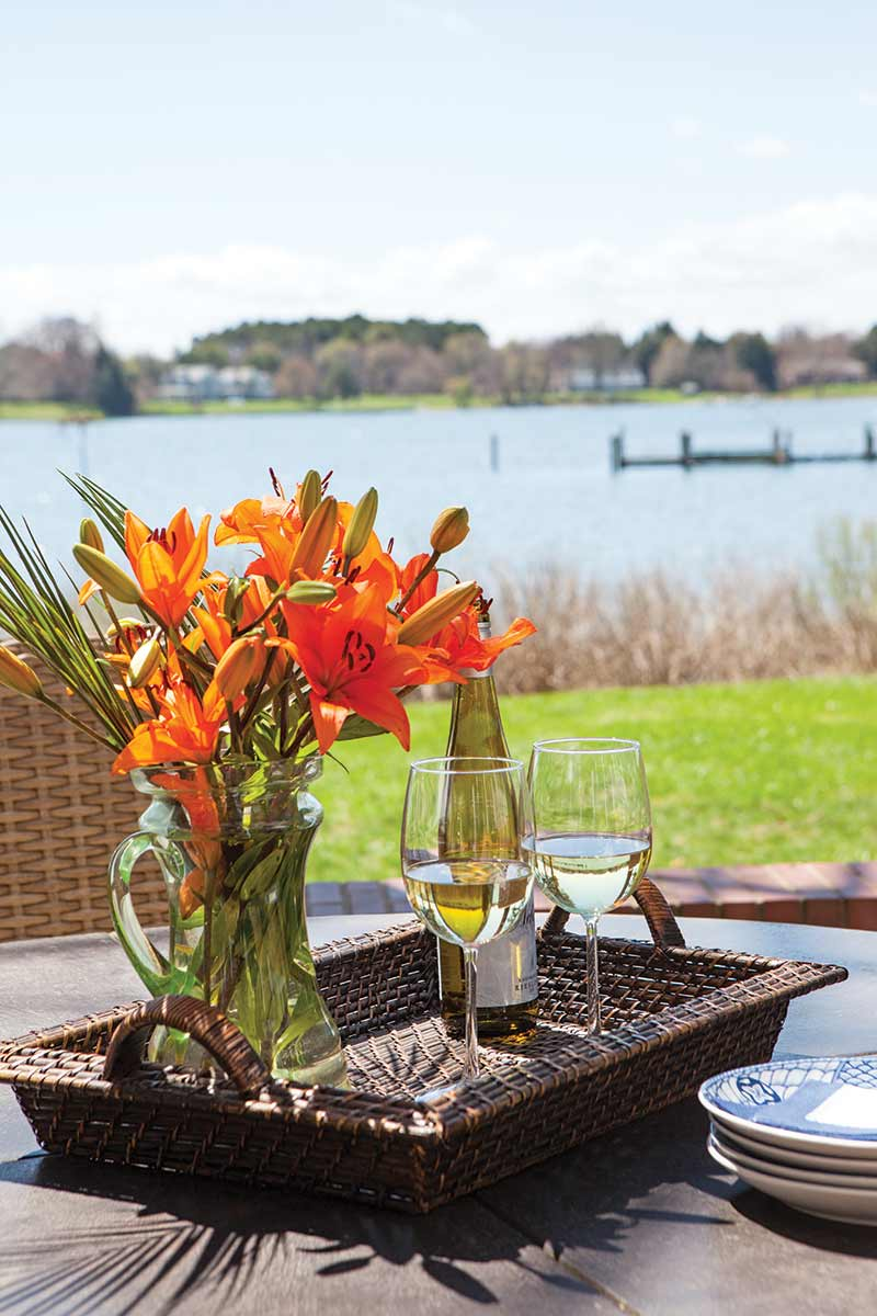 outdoor hospitality tray and view of water