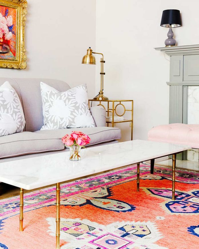 living room with coral rug