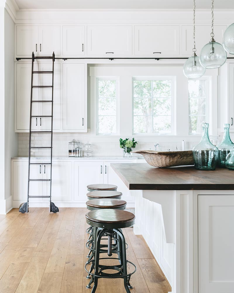 rolling ladder in kitchen
