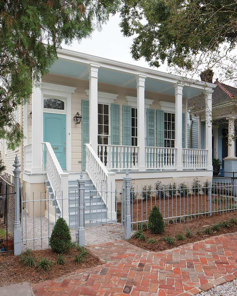 New Orleans house exterior with blue front door
