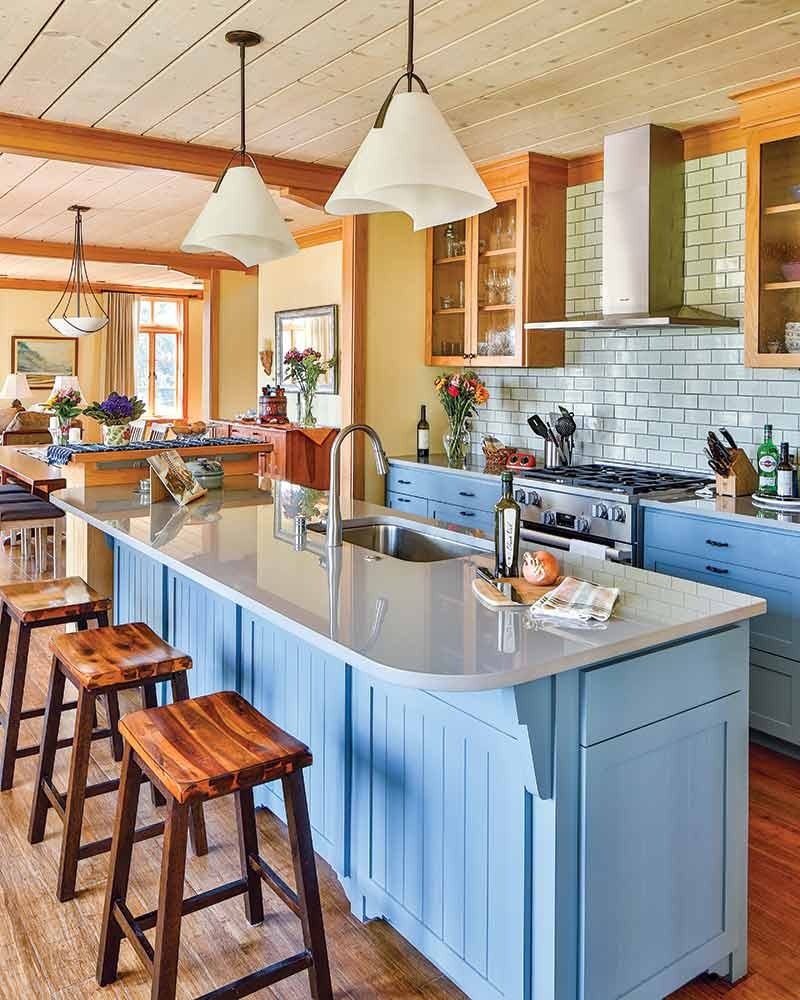 kitchen with blue cabinetry