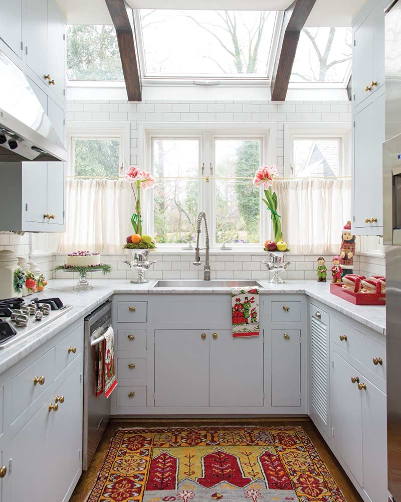 Christmas cottage kitchen with skylight