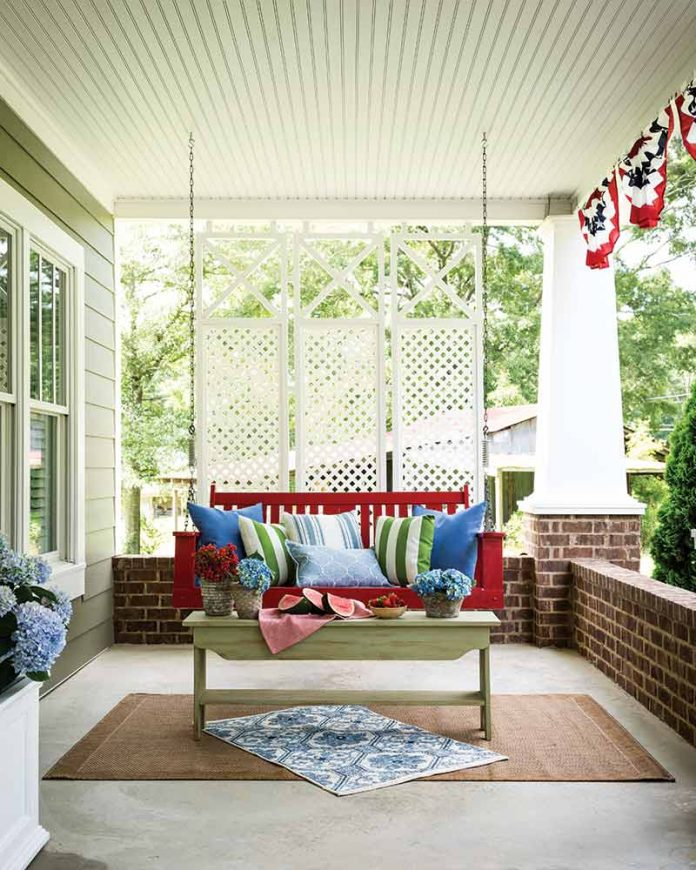 red front porch swing