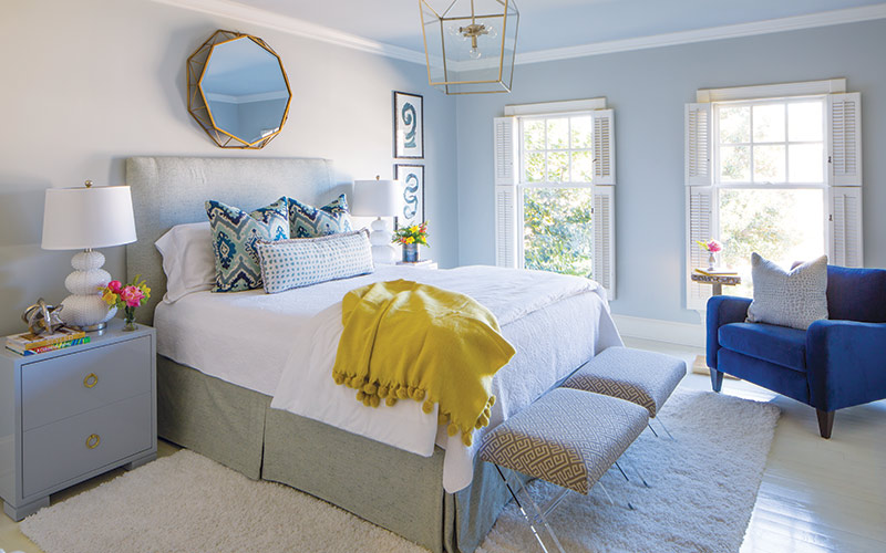 feminine blue and yellow bedroom