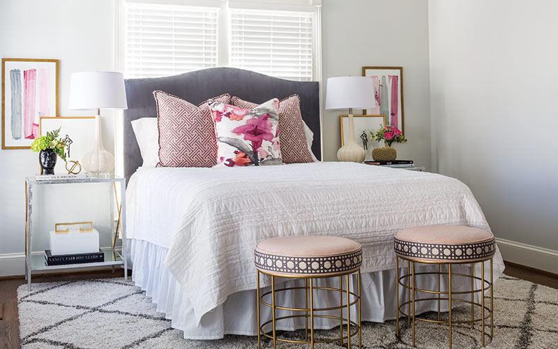 feminine pink accented bedroom