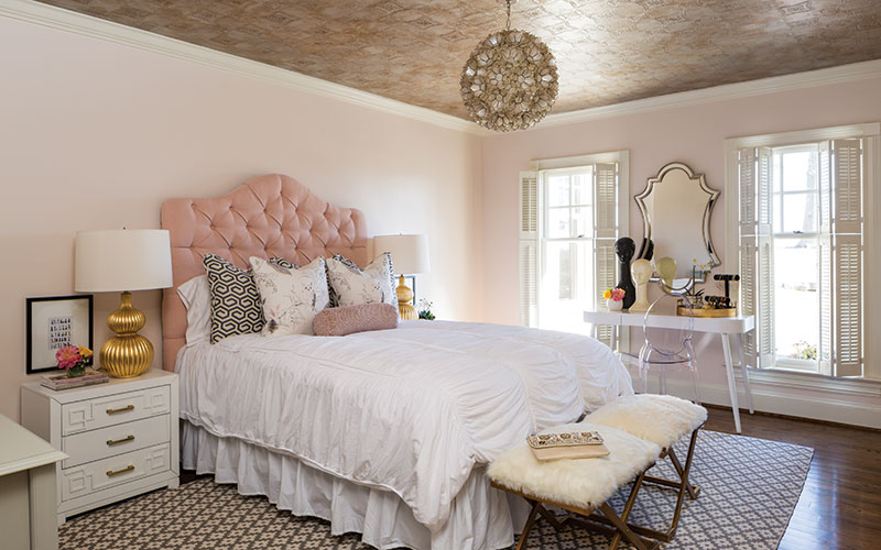 feminine pink and gold bedroom