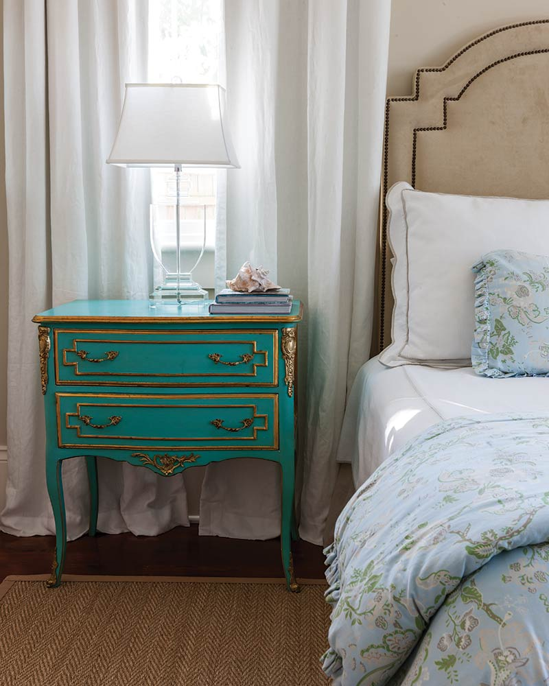 Aqua blue French-style side table