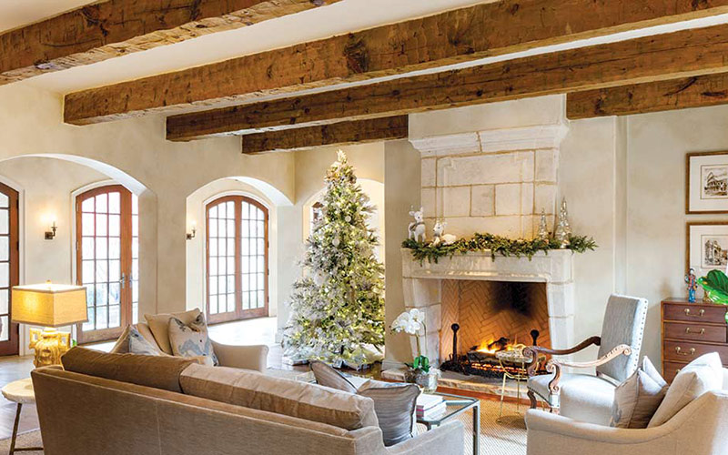 Christmas tree in French-style contemporary living room